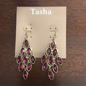 Tasha chandelier earrings gold NEW teardrop